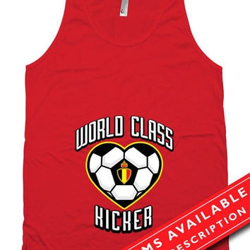 Soccer Pregnancy Announcement T Shirt Gifts For Expecting Mothers Soccer Shirts For Mom Belgium Soccer Fan American Apparel Tanks MD-648
