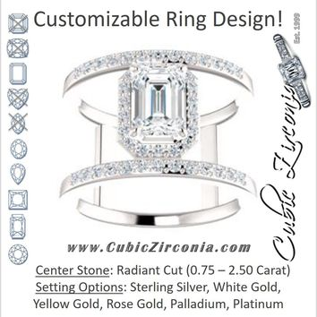 Cubic Zirconia Engagement Ring- The Jersey (Customizable Radiant Cut Halo Design with Open, Ultrawide Harness Double-Pavé Band)
