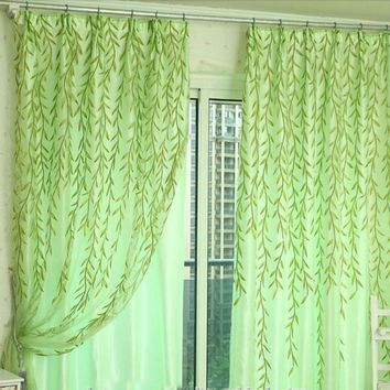Super Deal Willow Tulle Door Window Curtain Drape Panel Sheer Scarf Valances 100X200cm XT