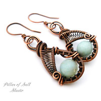 Amazonite and copper woven wire earrings