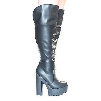 Festa Over The Knee Zip Up Lug Sole Platform Chunky High Heel Boots