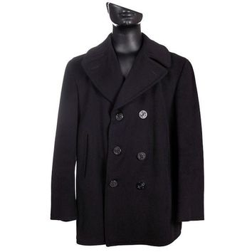 Mens Vintage Authentic Black  Navy Pea Coat Size 40R 1967