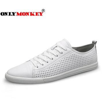 ONLYMONKEY 2018 New Design Breathable Leather Sneakers Outdoor Soft Men Walking Shoes Lace Up Non-slip Sport Shoes for Men