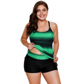 Green Strappy Hollow-out Back Tankini Set (22-24) 3X