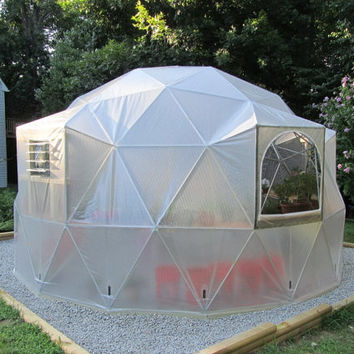 16 ft Geodesic Dome Greenhouse Kit, Custom Vinyl Cover with Est. Lifespan of 10-15 years