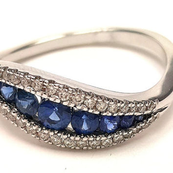 Handmade Curved Engagement Ring 14K White Gold With Blue Sapphire And Diamonds , Gem Ring, Promise Ring, Sapphire Ring