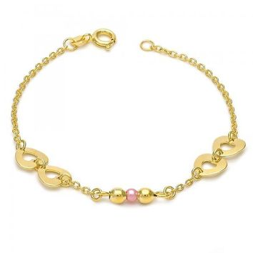 Gold Layered 03.02.0019.06 Fancy Bracelet, Heart Design, with Rose Mother of Pearl, Polished Finish, Gold Tone