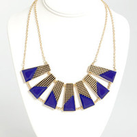 Plot the Points Gold and Blue Statement Necklace