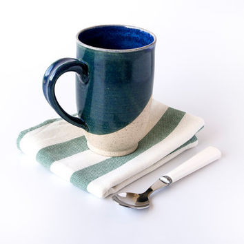 Large Pottery Mug / Ceramic Handmade Mug / Stoneware Coffee Mug / Blue Coffee Mug