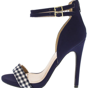 GLEE114 NAVY WHITE GINGHAM ANKLE STRAP HEEL