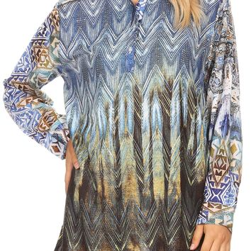 Sakkas Alberta Womens Long Blouse Tunic Shirt with 3/4 Sleeve and Embellishing