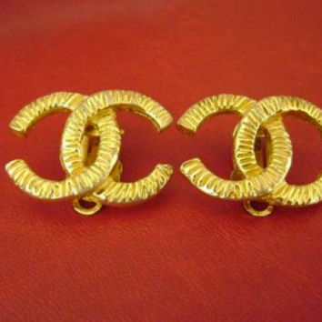 Authentic Large Vintage Chanel Earrings