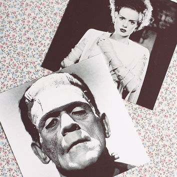 Bride of Frankenstein Polaroid style Photographs-set of 2 .Classic horror monsters.Elsa Lanchester. Polaroid Print.Photo decor.Frankenstein.