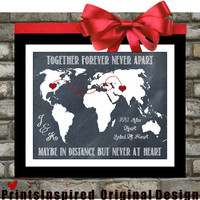 Long Distance Relationship:  Personalized. Gift For Couples Quotes Map of World Custom Hearts Unique For Boyfriend Girlfriend Fiance
