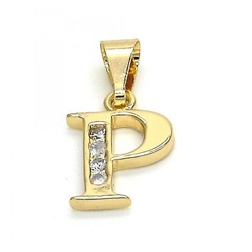 Gold Layered 05.26.0028 Fancy Pendant, Initials Design, with White Cubic Zirconia, Polished Finish, Golden Tone