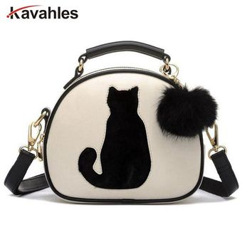 2018 Women Shoulder Bags Crossbody Bag For Women Handbag PU Leather Full Moon Candy Color Cute Cat With Fur Ball bolsas PP-377