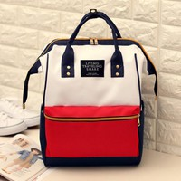 Japan style popular student shoulder bag Large capacity computer backpack preppy style patchwork men and women school bag