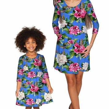 Aquarelle Gloria Empire Waist Floral Mommy and Me Dresses