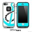 Aqua Blue Anchor on White Skin for the iPhone 5 or 4/4s LifeProof Case