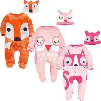 New Baby Boys Girls Fox Animals Kids Newborn Infant Romper Hat 2pcs  Long Sleeve Cute Clothes Outfits Set Infant Boy Girl  0-24M