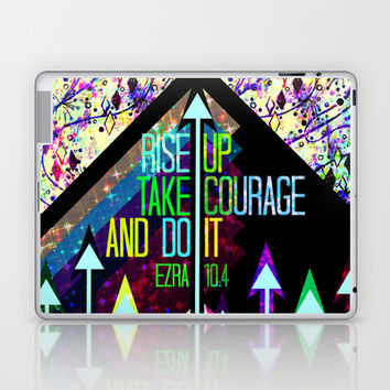 RISE UP TAKE COURAGE AND DO IT Colorful Geometric Floral Abstract Painting Christian Bible Scripture Laptop & iPad Skin by The Faithful Canvas