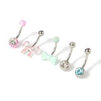 14G Bow Barbell Belly Ring Set of 5  | Icing