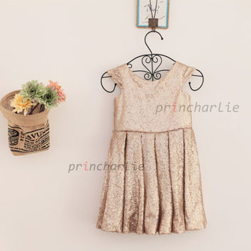 096dc0d1568 Champagne Gold Sequin Flower Girl Dress Junior Bridesmaid Dress Cap Sleeves  Baby Girl Wedding Party