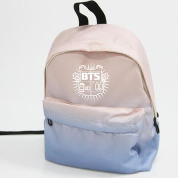 KPOP BTS Bangtan Boys Army  home   Boys WINGS YOUNG FOREVER new logo The Same Gradient canvas bag student backpack four model AT_89_10