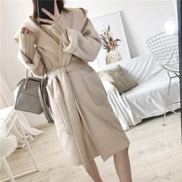 SuperAen 2017 Winter New Korean Style Women Woolen Coat Solid Color Wild Fashion Loose Long Coat Long Sleeve Hooded Woolen Coat