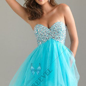 Stock Sweetheart Sequin Bodice Mini Party Homecoming Dresses Cocktail Prom Gowns