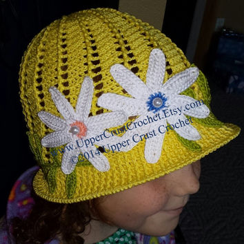 2 in 1 Summer Cloche Panama Flower Hat Downton Abbey Inspired --PATTERN--Spiral AND Non-Spiral