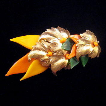 Miriam Haskell Glass and Gilded Metal Leaf Pin - Green and Orange