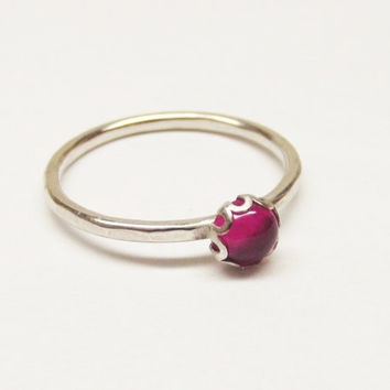 Lab Grown Pink Fuschia Ruby 5mm Filigree Setting on Sterling Silver Thin Hammered Ring Band- Oh My Metals