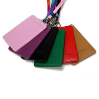 PU Leather Id Holders Case Business Badge Card Holder with Necklace Lanyard CAHU
