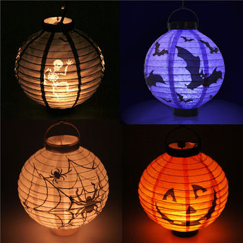 1 pcs Halloween Decoration LED Paper Pumpkin Light Hanging Lantern Lamp Halloween Props Outdoor Party Supplies 2016 New Arrival
