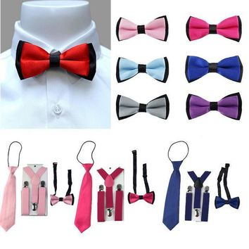 CREYONJ 3PCS Children Boys Toddlers Kids Suspenders Adjustable Y-Back Braces Butterfly Bowtie Wedding Party Ties 1-8 Year YHHtr0009