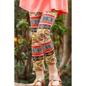 Stylish Elastic Waist Tribal Print Girl's Leggings