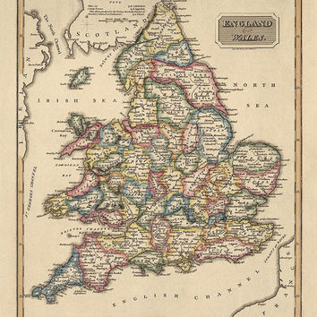 Antique Map of England and Wales (c1817) by Fielding Lucas - Archival Reproduction