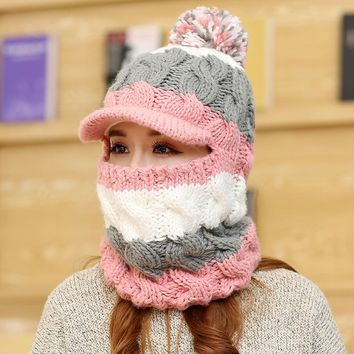 New Women Knitted Wool Bomber Pompom Hats+Ring Scarf 2 in1 Lady Cute Winter Hats Thick Warm Velvet Female Cycling Windproof Caps