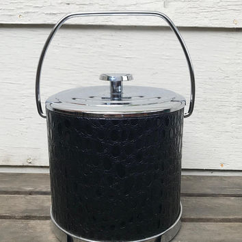 Vintage Irvinware Ice Bucket, Faux Reptile and Chrome Mid Century Ice Bucket, Black Vinyl with Silver Tone Handle, 1970s