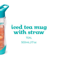 Teal Iced Tea Mug with Straw - With Its Double-Walled Design And Carabiner Attachment, This Is The Perfect Summer Accessory | DAVIDsTEA
