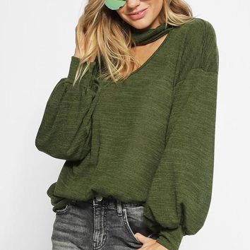 Choker Style Top - Olive