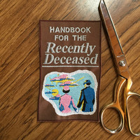 Beetlejuice 6in. Embroidered Handbook for the Recently Deceased book cover Sew-on patch