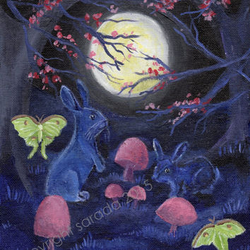 Gothic purple blue moon bunny ghost rabbits spring mushroom forest original art 8 x 10 acrylic painting luna moth spirit animal Easter