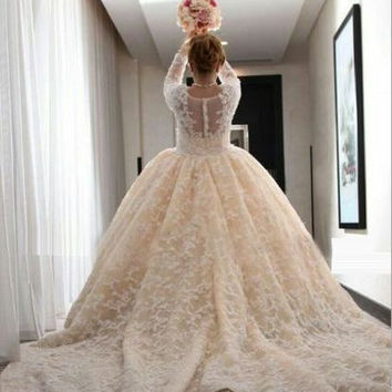 2017 New Custom Made Wedding Dresses Square Collars Long Sleeves Detachable Chapel Train Beading Champagne Lace Bridal Gowns