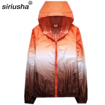 Rainbow Color Hoody Hooded Sun Protection Rain Coat for Travel to Carry Spring and Summer Thin Waterproof Trench Coat S310