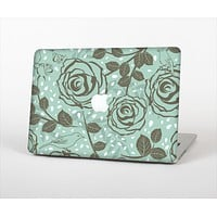 """The Toned Green Vector Roses and Birds Skin Set for the Apple MacBook Pro 13"""" with Retina Display"""