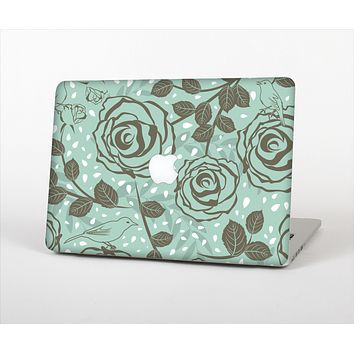 The Toned Green Vector Roses and Birds Skin Set for the Apple MacBook Pro 15""