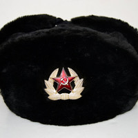 Russian hat, Authentic Russian army Ushanka black cap with the insignia of Soviet Red Army
