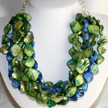Chunky Blue and Green Shell Nugget Necklace, Iridescent Mother of Pearl, Shell 7 Strand Multi Strand Beach Statement Wedding Bib Necklace